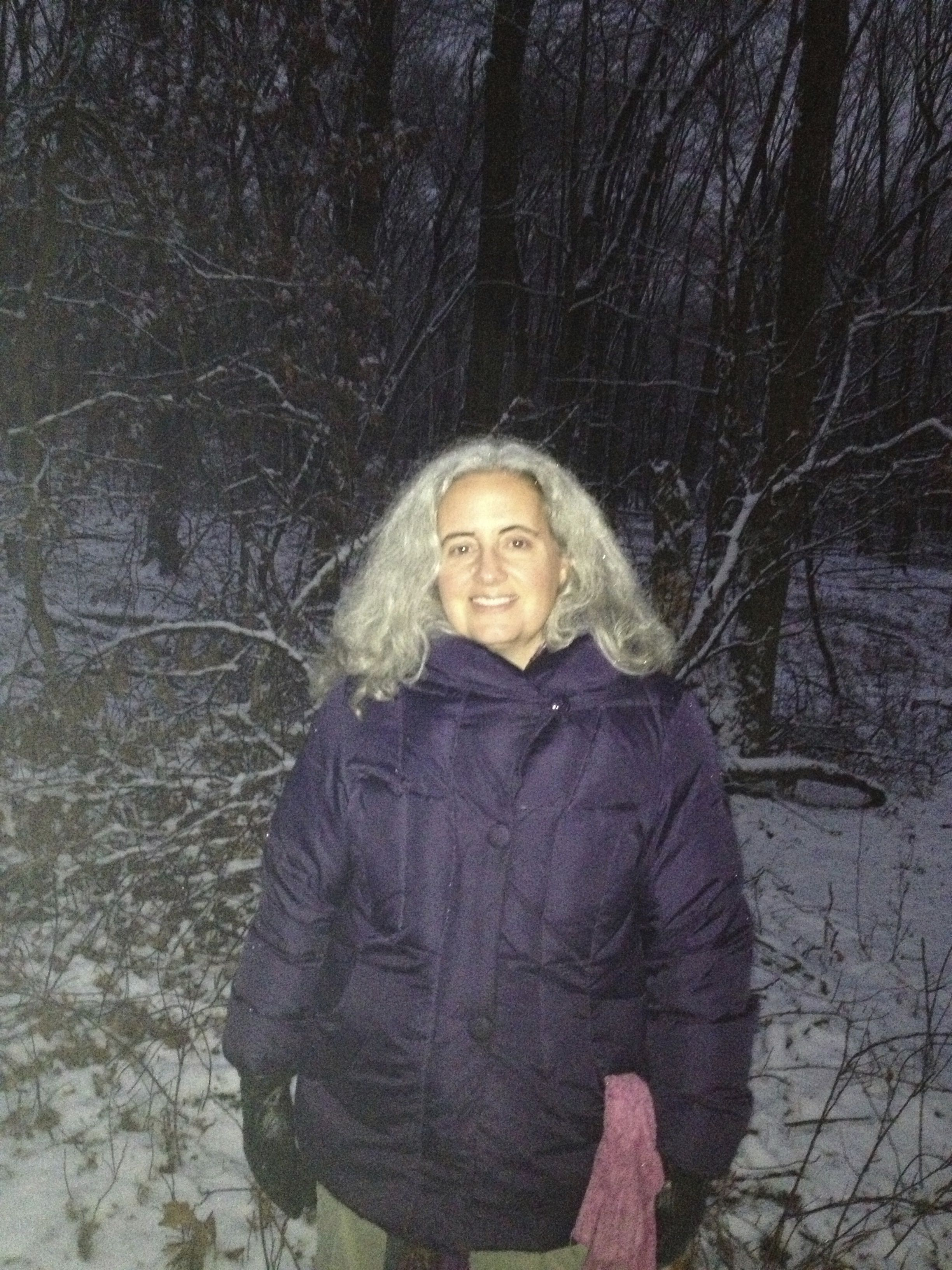 Deana Rogers walking by the snowy woods January 2013