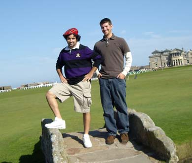 Zac ROgers and Tad Kelly on the TOm Morris bridge at St. Andrews Old Course